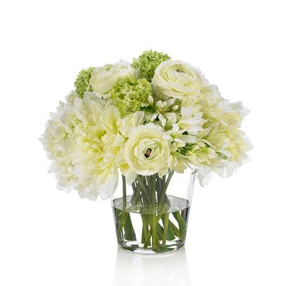 flower「Agapanthus 、ラナンキュラス、ダリアブーケに白背景」:スマホ壁紙(13)