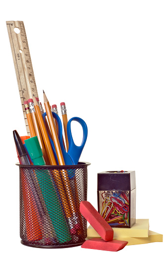 September「Various school supplies isolated on a white background」:スマホ壁紙(7)