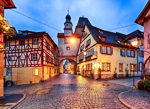 Town Square「Rothenburg ob der Tauber at New Year night, Bavaria, Germany」:スマホ壁紙(12)