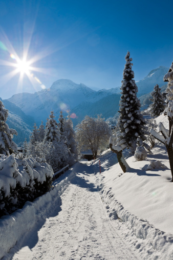 Ski Resort「Swiss Alps Mountains, Snow covered path to Chalet」:スマホ壁紙(1)