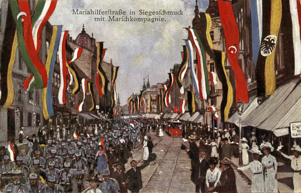 US State Flag「Vienna is caught up in war fever, Big streets like the Mariahilferstrasse are decorated with flags, Vienna, Postcard, Colour lithograph, 1914」:写真・画像(8)[壁紙.com]