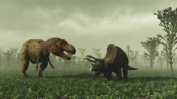 Tyrannosaurus Rex And Triceratops:スマホ壁紙(壁紙.com)