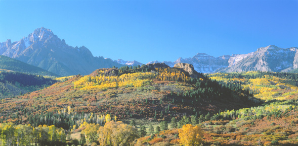 Uncompahgre National Forest「Jagged peaks of Mount Sneffels behind colorful autumn foliage of aspens. Mount Sneffels, San Juan Mountains, Uncompahgre National Forest, Colorado.」:スマホ壁紙(13)