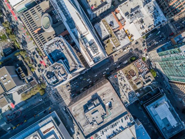 Aerial Birds Eye View of San Francisco  Fiancial Disrict:スマホ壁紙(壁紙.com)