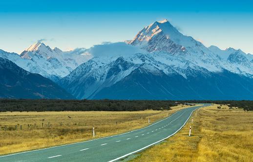 Dividing Line - Road Marking「Road toaward Mount Cook, New Zealand」:スマホ壁紙(13)