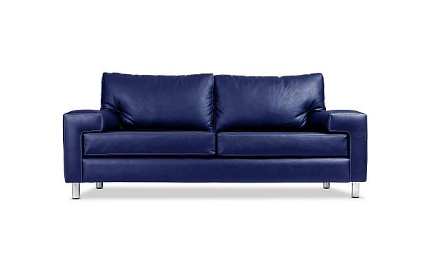A blue leather sofa with silver legs:スマホ壁紙(壁紙.com)