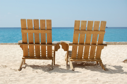 Deck Chair「Empty Romantic Beach Chairs White Sand Overlooking Caribbean Travel Photography」:スマホ壁紙(9)
