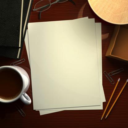Letter「デスク、ブランク紙」:スマホ壁紙(13)