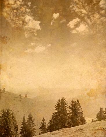 Grove「mountain scene on old paper」:スマホ壁紙(7)