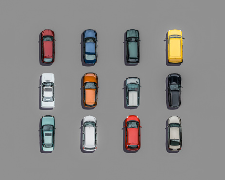Motor Vehicle「Potpourri of colored cars, Aerial View」:スマホ壁紙(17)