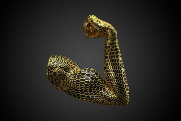 Voronoi Muskelarm gold -quer:スマホ壁紙(壁紙.com)