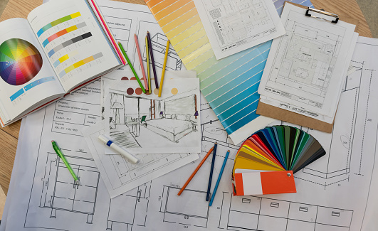 Home Addition「Blue prints, color swatch, pencil colors, sketches, plans and documents for a home renovation」:スマホ壁紙(5)