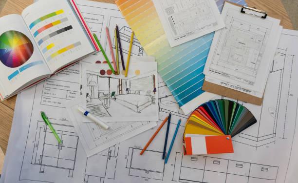Blue prints, color swatch, pencil colors, sketches, plans and documents for a home renovation:スマホ壁紙(壁紙.com)