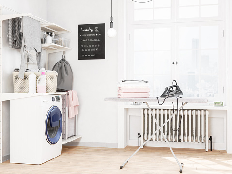 Basket「Laundry room with washing machine and iron」:スマホ壁紙(12)