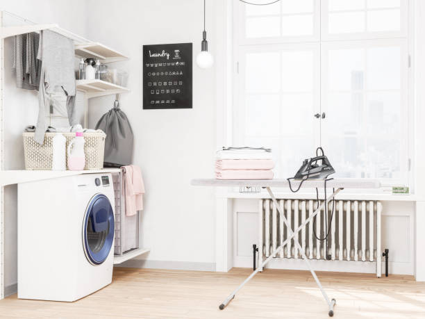 Laundry room with washing machine and iron:スマホ壁紙(壁紙.com)