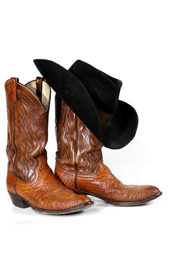Casual Clothing「Cowboy boots and hat on white background」:スマホ壁紙(7)