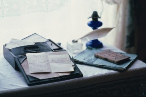 アンティーク「Stationeries on desk, high angle view」:スマホ壁紙(4)