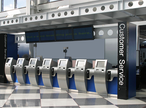 Airport Check-in Counter「Self-Ticketing Machines In Airport」:スマホ壁紙(11)