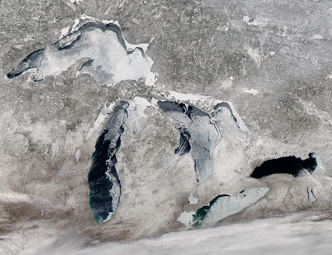 Great Lakes「March 16, 2014 - Satellite view of ice on the Great Lakes, United States.」:スマホ壁紙(8)