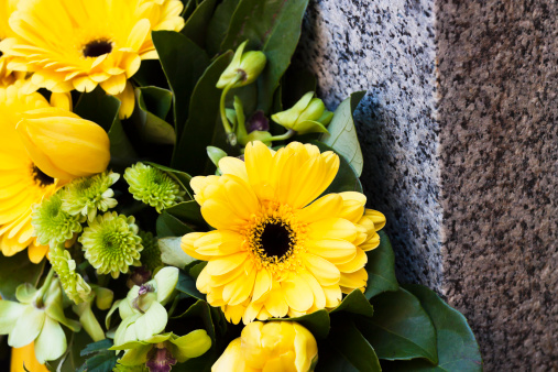 Memorial「Closeup yellow daisys on granite stone, copy space」:スマホ壁紙(10)
