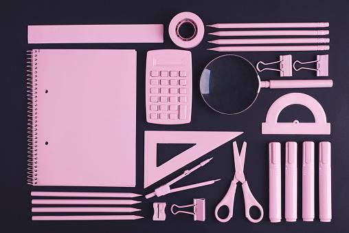 Scissors「Directly above shot of pink office supplies. Debica, Poland」:スマホ壁紙(19)
