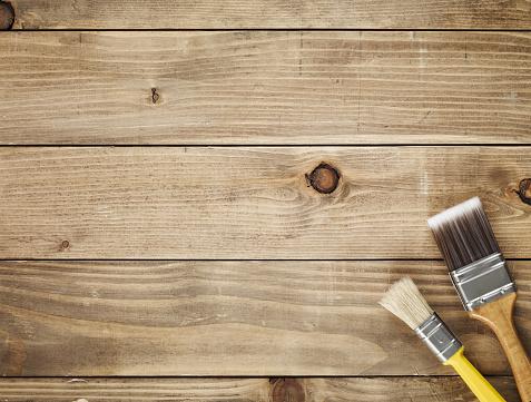 カラー画像「直接ご連絡の上、木製のテーブルとペイントブラシ」:スマホ壁紙(7)
