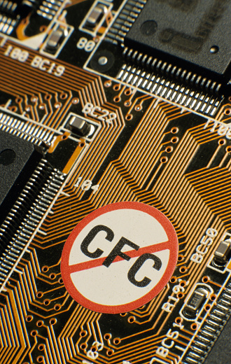 Motor Racing Track「Circuit board with chips and NO CFC label, close-up」:スマホ壁紙(8)