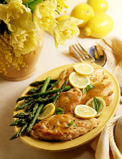 Lemon chicken with asparagus:スマホ壁紙(壁紙.com)