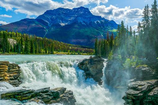 Athabasca River「Scenic Athabasca Falls and Mount Kerskelin, Jasper National Park, Canada」:スマホ壁紙(0)