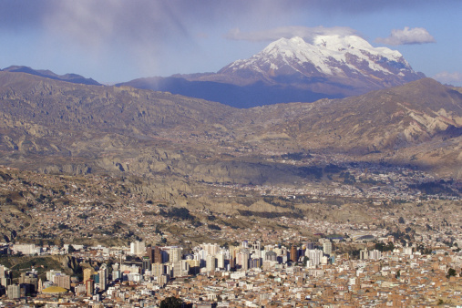 Bolivian Andes「Bolivia, La Paz with Illimani Volcano in background」:スマホ壁紙(1)