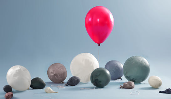 Gray Background「Inflated balloon surrounded by deflated balloons」:スマホ壁紙(10)