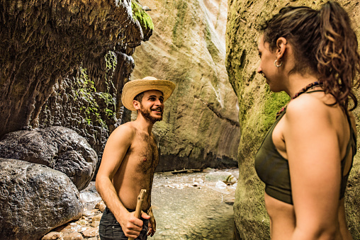Hipster - Person「Hipster couple exploring a beautiful canyon on Cyprus island.」:スマホ壁紙(6)