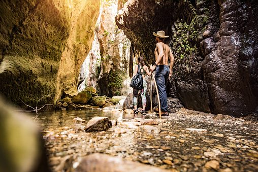 Hipster - Person「Hipster couple exploring a beautiful canyon on Cyprus island.」:スマホ壁紙(9)