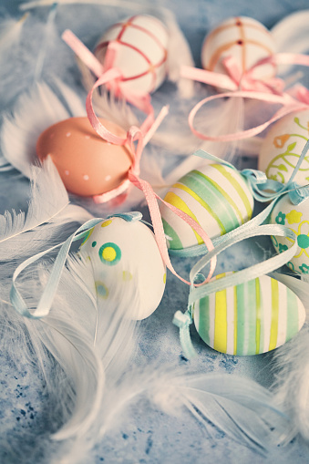 Easter Bunny「Decorated Easter Eggs Wreath on Rustic Background」:スマホ壁紙(15)