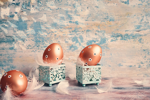 Easter Bunny「Decorated Easter Eggs on Rustic Background」:スマホ壁紙(14)