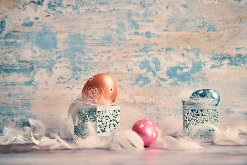 Easter Bunny「Decorated Easter Eggs on Rustic Background」:スマホ壁紙(3)