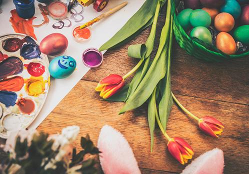 イースター「Decorated Easter Eggs Background」:スマホ壁紙(8)