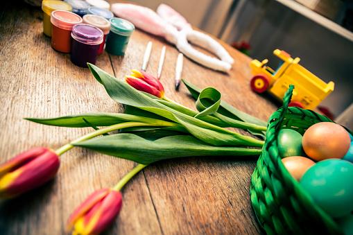イースター「Decorated Easter Eggs Background」:スマホ壁紙(1)