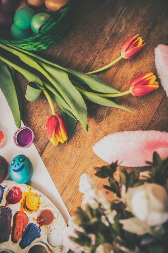 イースター「Decorated Easter Eggs Background」:スマホ壁紙(9)