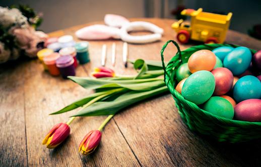 イースター「Decorated Easter Eggs Background」:スマホ壁紙(2)