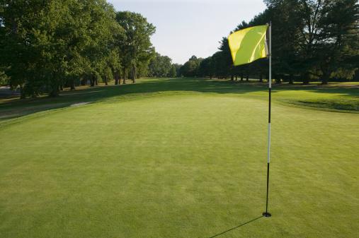 ゴルフ「Flag in hole at golf course」:スマホ壁紙(16)