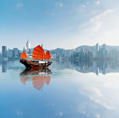 Financial District「Junk boat crossing Hong Kong harbor」:スマホ壁紙(1)