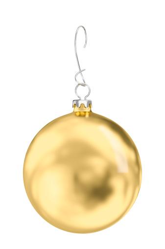 月「ゴールデンクリスマスボールの白い背景、クリッピングパス(XXXL -33MPx」:スマホ壁紙(19)