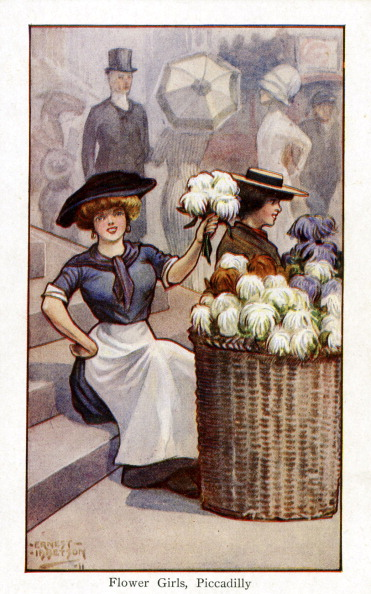 City Life「Flower sellers at work, Piccadilly, London」:写真・画像(1)[壁紙.com]