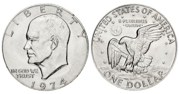 Moon「Eisenhower dollar on white background」:スマホ壁紙(4)
