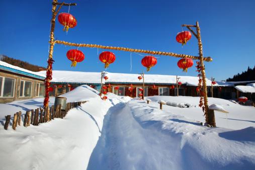 Chinese Lantern「Snow Village in Mudanjiang,Heilongjiang,China」:スマホ壁紙(4)