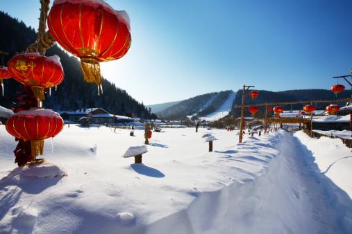 Chinese Lantern「Snow Village in Mudanjiang,Heilongjiang,China」:スマホ壁紙(9)