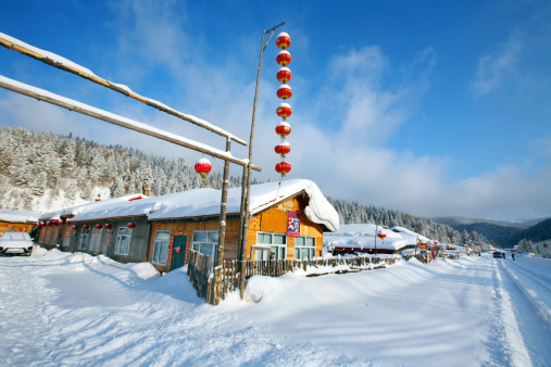Chinese Lantern「Snow Village in Mudanjiang,Heilongjiang,China」:スマホ壁紙(12)