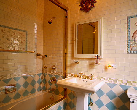1990-1999「Blue and White Tile in Bathroom with Aquatic Theme」:スマホ壁紙(5)