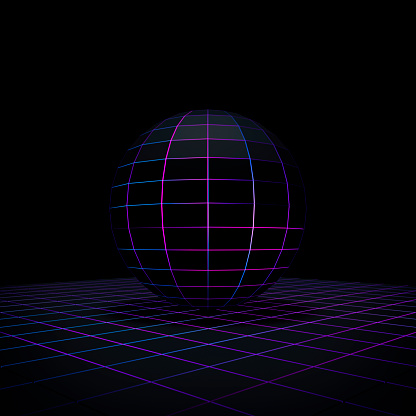 Quantum Computing「Black sphere on grid」:スマホ壁紙(16)